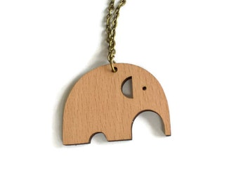 Elephant wood necklace, laser cut wood pendant, elephant necklace, elephant pendant, laser cut wood necklace, gift for her, mom's gift