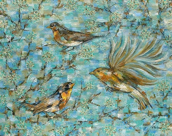A Touch of Spring: acrylic painting, giclee print, large wall art, bird painting, fine art print