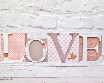 Love letters decoration. Wooden letters blocks. Pink & gold. Wedding, anniversary, Valentine's gift. Shelf sitter ornament