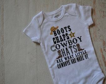 Newborn Baby Boy Cowboy Boots Chaps Cowboy Hats  WesternBodysuit