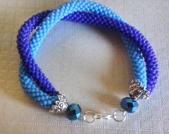 Crochet beads double strand bracelet