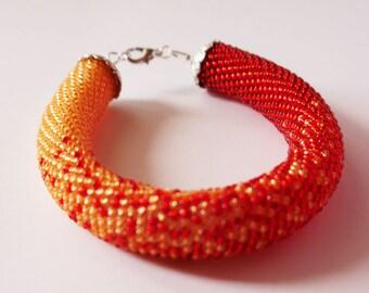 Beaded Bracelet, Crocheted Bracelet, Ombre Bracelet, Beadwork, Orange Red Bracelet Gradient