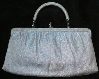 Vintage 1950's-1960's Ande' Silver Sparkly  Top-handle purse
