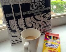 Adult Coloring Book, Mix Tape, Hip Hop Lyric Coloring Book, W/10 pk Colored Pencils