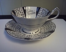 Queen Anne Bone China Silver Lace Wedding Anniversary Tea Cup & saucer- England.
