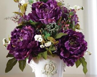 Silk Flower arrangement, Purple Tuscany Silk Centerpiece, Purple Peonies