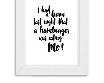 Seinfeld Hamburger Print, Digital Download & Print, Wall Art, Seinfeld Quote