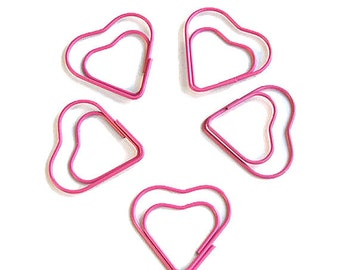 Pink heart paper clips set of 5, heart paperclips, planner paperclips, paper clip bookmark, planner paper clips, page marker