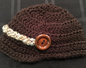 Baby Boy Newsboy Hat with Buttons, Crochet, Infant