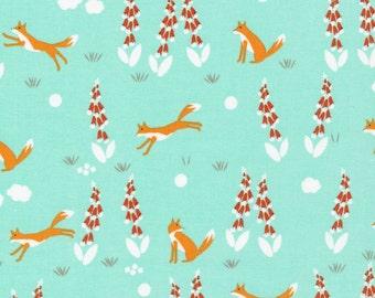 Fox in the Foxgloves Turquoise - Foxglove - Cloud9 Fabrics - Organic Cotton Poplin by the Yard