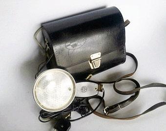 SALE 30% OFF Vintage Soviet Camera Flash Light Chayka Chaika (Чайка) with Original Black Leather Bag - made in USSR 60s