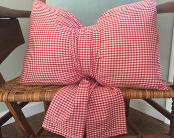 Red Check Fully Completed Front Porch Bow Pillow Pre-Stuffed Decorative