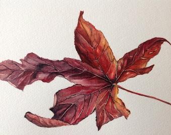 "Original Watercolour Painting AUTUMN LEAF Watercolour Flowers 10""x7"", Botanical Art, Housewarming Gift, Fall Painting,"