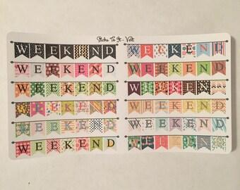 Weekend Banners Erin Condren Life Planner ECLP Mambi Inkwell Press Filofax Kikki K Happy Life Planner