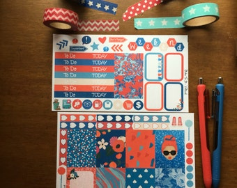 Patriotic Red White Blue Summer Mini Weekly Set ECLP Horz & Vert Planner Stickers Erin Condren Mambi Inkwell Press Filofax KikkiK Happy