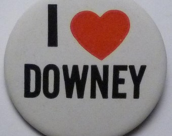 "Pin Back Button - ""I Love Downey"" (California)"