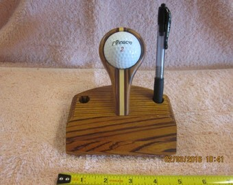Hole In One: Exotic Zebrawood, Bloodwood & Holly Desk Pen Stand
