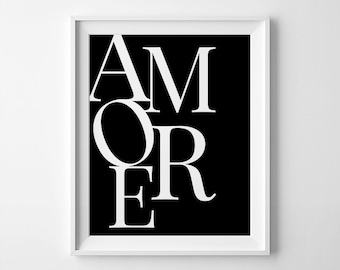 Amore Digital Print, Italian Wall Decor, Amore Printable, Typography Art, Amore Wall Art, Instant Download, Digital Printable