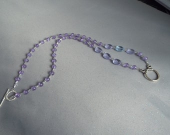 Blue Faceted Glass Eyeglass Necklace