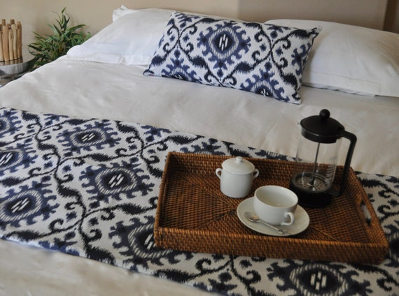 bed scarf pillow eastern blue