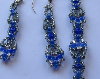 Silver and blue beaded bracelet with earrings