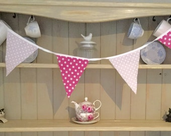 Handmade bunting 10ft/3m 4 different designs, pink floral,vintag rose, blue daisy, pink spotty, shabby chic, garden, kitchen, bedroom, gift