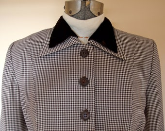 Vintage 1940s Wool Rayon Gabardine Houndstooth 2 Piece Suit Jacket Pencil Skirt