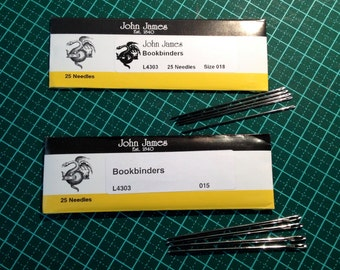 Bookbinders' needles sizes 18 and 15