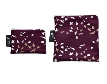 Ready to ship - Reusable Snack Bag Set - Flock with zipper