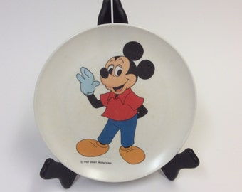 1960's Walt Disney Productions Mickey Mouse Melamine 9 inch Children's Dinner Plate