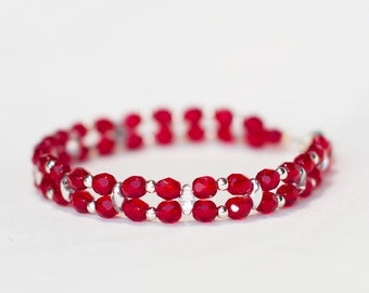 Bracelet Red with Silver Beauty
