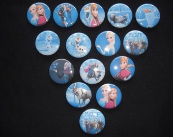 Frozen Themed Buttons Set of 15