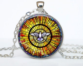 Holy Spirit pendant, Stained glass, Christian Dove jewelry, Catholic necklace #29