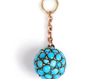 Victorian English Turquoise Ball Charm/Pendant