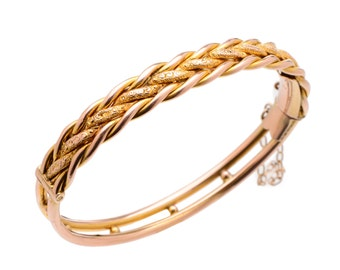 Yellow Gold Braided Bangle Bracelet