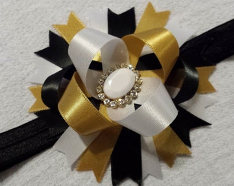 Baby Headband, Black/Gold/White