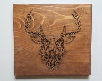 Zen deer antler, painted wood sign, zentangle wall art
