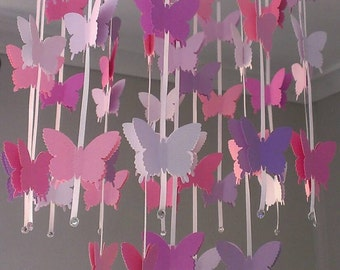 Pink, Purple and White Butterfly Mobile