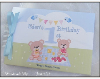 Personalised Baby's 1st / FIRST BIRTHDAY/ Guest Book/ Photo Scrapbook Memory Album