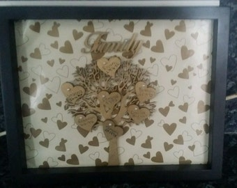 family tree personalized in black box frame