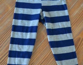 Navy/Grey Stripe Leggings- Size 1 (12-18M)