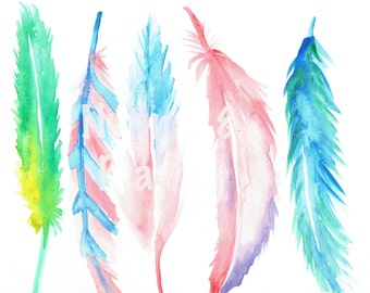 Feathers Watercolor Print - Digital Download