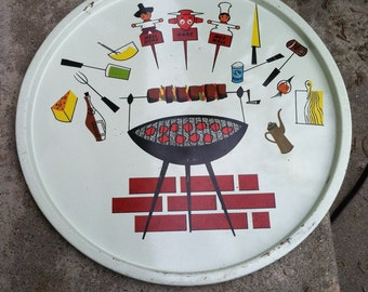 Vintage antique cute 60s barbecue tray mid century 1960s home