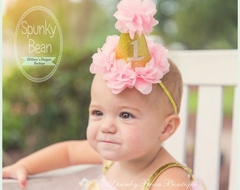 First 1st Birthday Hat, Party Hat, Baby Girl Birthday Hat, Birthday Photo Prop, Ruffle hat, Baby Girl 1st Birthday Party Hat, Pink and Gold