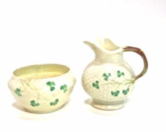 USA ONLY BELLEEK open sugar & creamer set shamrock basket weave seventh [7th] mark 1/4/80 thru 12-22-92