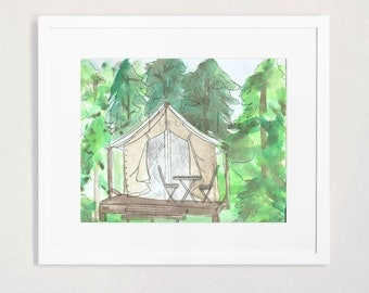 Yurt | Tent | Camping | Forest Watercolor Illustration