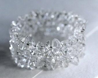 Crystal quartz bracelet,  memory wire bracelet