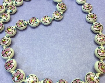 Chinese Porcelain Necklace, Vintage Flat Bead Necklace, Hand-Made Chinese Porcelain Double-Sided Necklace, Free Shipping Inside the US