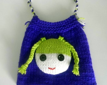 Beautiful Childs/Dolls Purple Hand Knitted Bag.