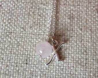 Set of 3 x rose quartz bridesmaids necklaces